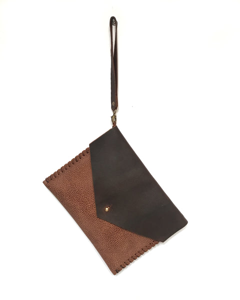 V-Pocket Clutch - Pebble Brown on Brown