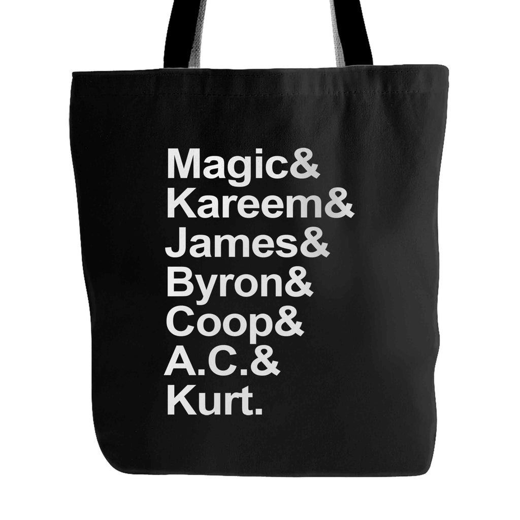 1987 Magic And Kareem And James And Byron And Coop And AC And Kurt Tote Bag