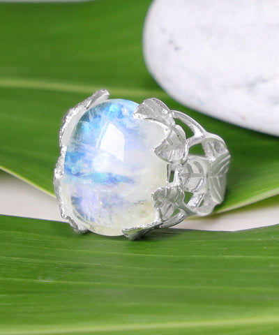 Rainbow Moonstone & Sterling Silver Ring