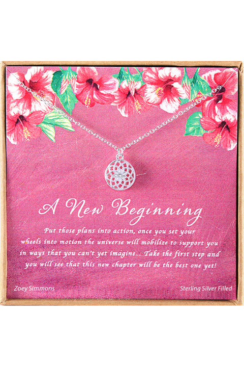 Sterling Silver A New Beginning Charm Necklace