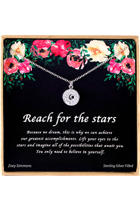 Sterling Silver Reach For The Stars Charm Necklace