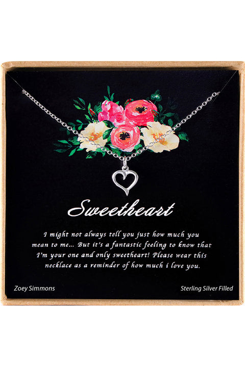 Sterling Silver Sweetheart Charm Necklace