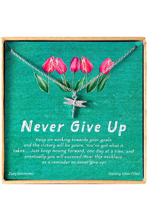 Sterling Silver Never Give Up Charm Necklace