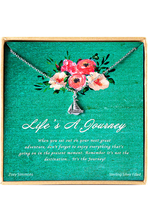 Sterling Silver Life̻s A Journey Charm Necklace