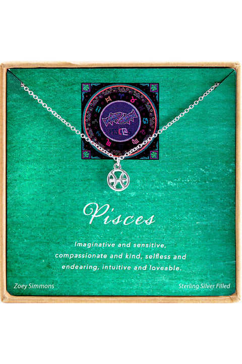 Sterling Silver Pisces Charm Necklace