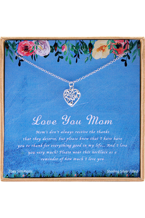 Sterling Silver Love You Mom Charm Necklace
