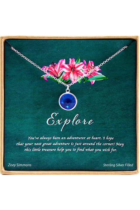 Sterling Silver Explore  Charm Necklace