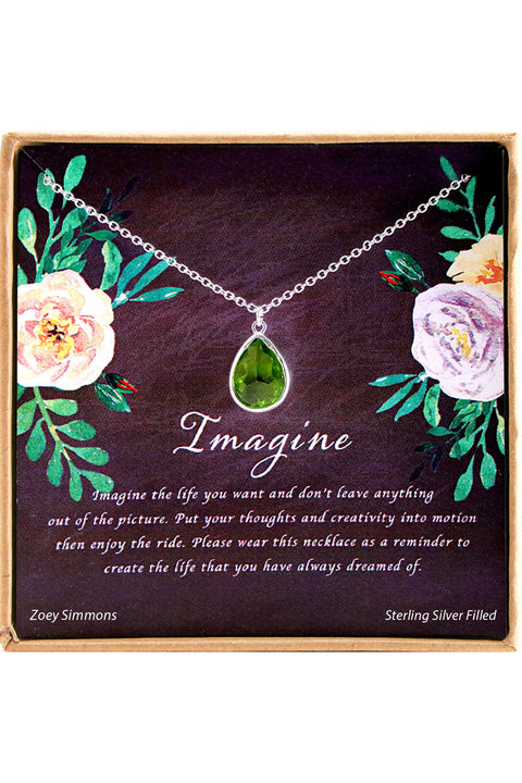 Sterling Silver Imagine Charm Necklace