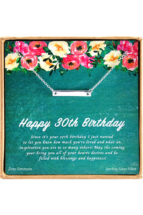 Sterling Silver Happy 30th  Birthday Charm Necklace