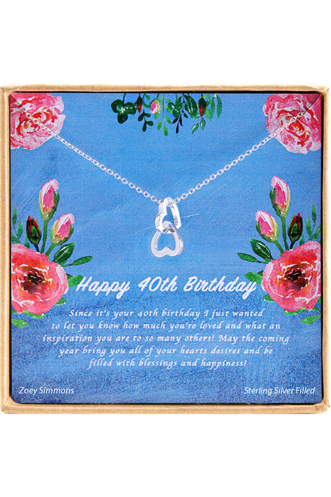 Sterling Silver Happy 40th  Birthday Charm Necklace