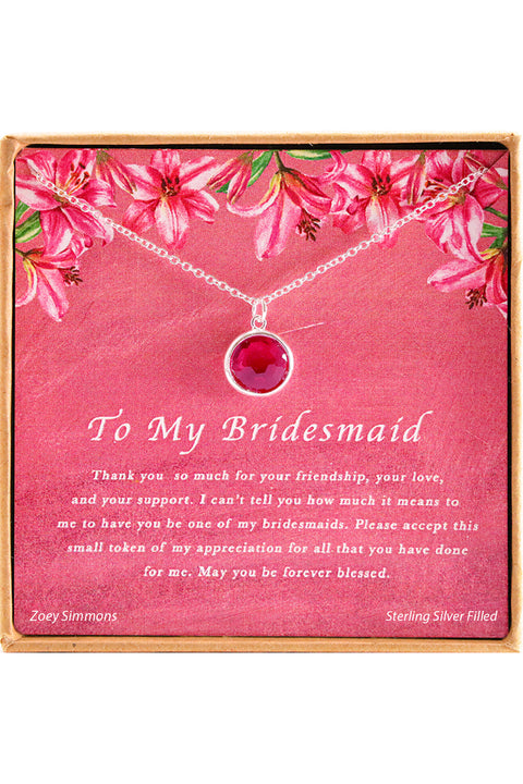 Sterling Silver To My Bridesmaid Charm Necklace
