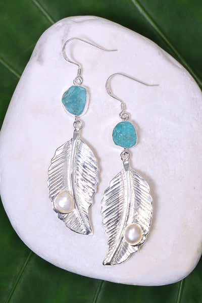 Sterling Silver Aquamarine With Pearl Leaf Drop Earrings