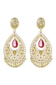 Raspberry Quartz Hydro With Filigree Detail Statement Earrings