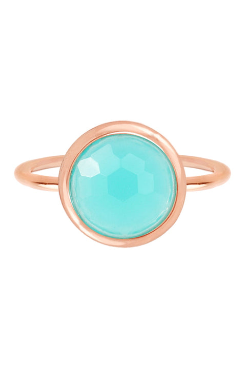 Amazonite Crystal & Rose Gold Plated Round Ring