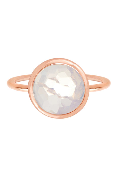 Moonstone Crystal & Rose Goldtone Round Ring