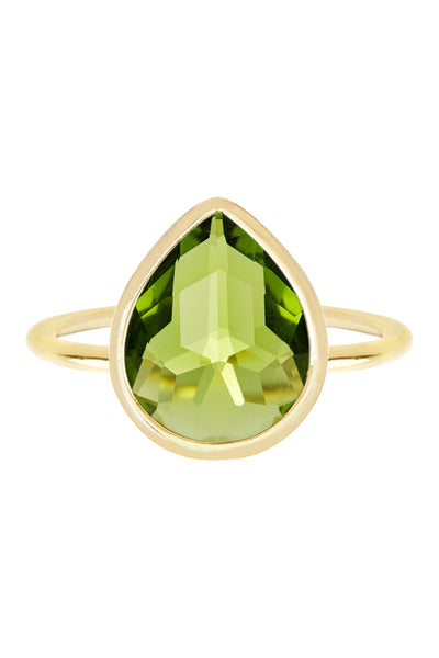Peridot Quartz Hydro Pear Cut Hand Candy Ring