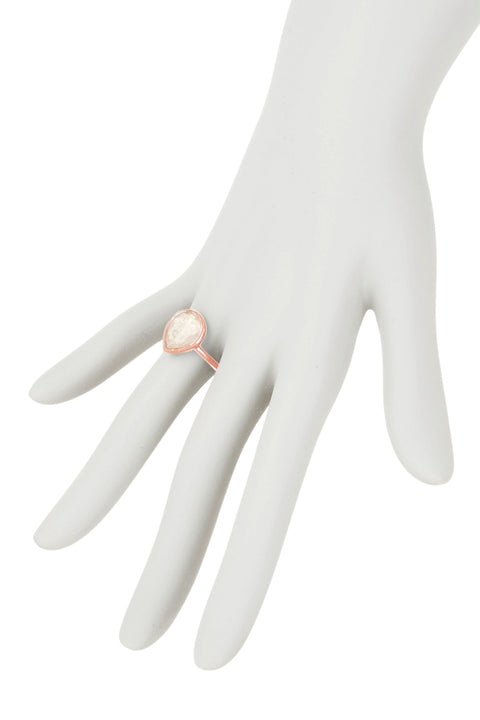 Moonstone Crystal Candy Dots Ring In Rose Gold