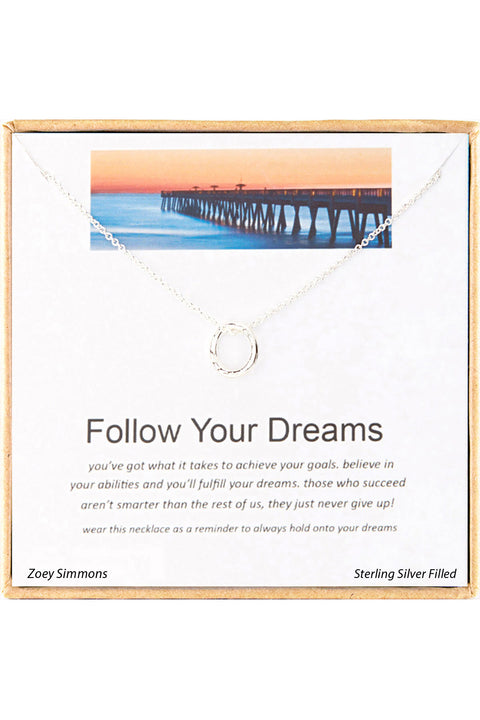 Sterling Silver Boxed 'Follow Your Dreams' Inspiration Necklace