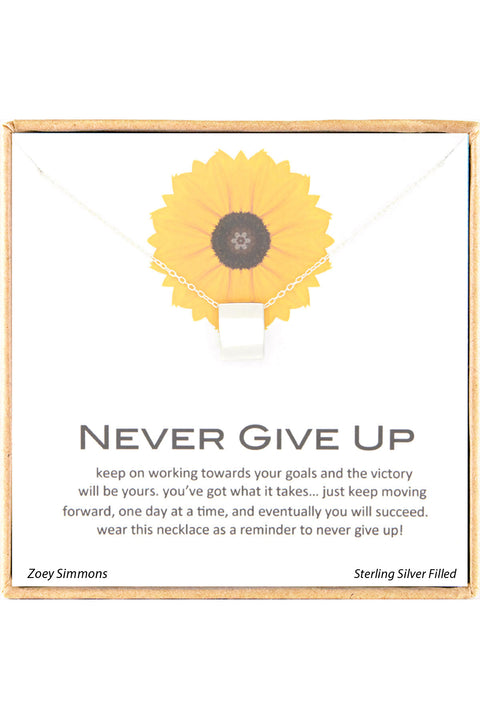 Sterling Silver Boxed 'Never Give Up' Inspiration Necklace