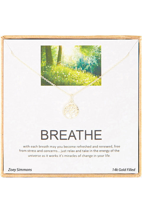 18K Gold Plated Sterling Silver Boxed 'Breathe' Inspiration Necklace