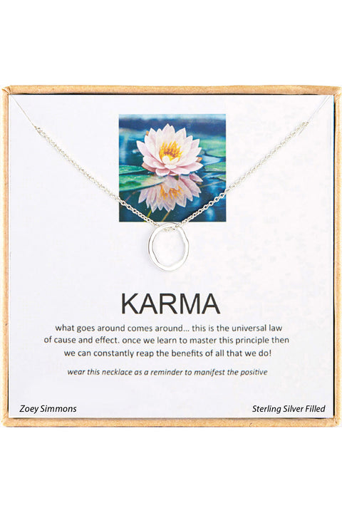 Sterling Silver Boxed 'Karma' Inspiration Necklace