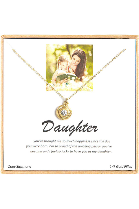 18K Gold Plated Sterling Silver Boxed 'Daughter' Inspiration Necklace