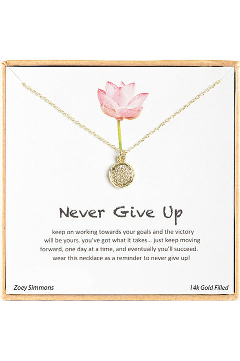 18K Gold Plated Sterling Silver Boxed 'Never Give Up' Inspiration Necklace