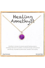 18K Gold Plated Sterling Silver Boxed 'Healing Amethyst' Inspiration Necklace