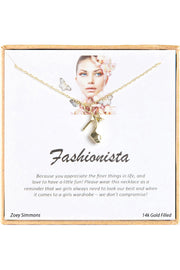 18K Gold Plated Sterling Silver Boxed 'Fashionista' Inspiration Necklace
