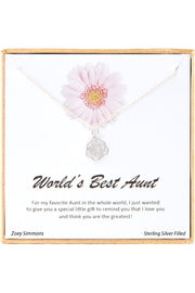 Sterling Silver Boxed 'World's Best Aunt' Inspiration Necklace
