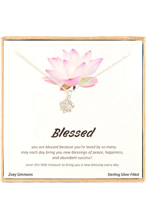 Sterling Silver Boxed 'Blessed' Inspiration Necklace