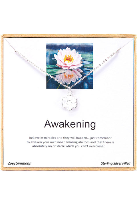 Sterling Silver Boxed 'Awakening' Inspiration Necklace