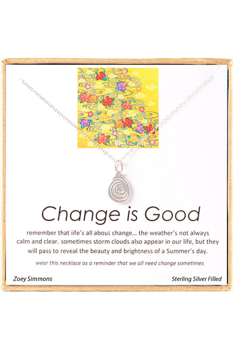 Sterling Silver Boxed 'Change Is Good' Inspiration Necklace