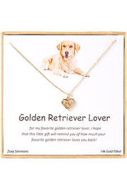 18K Gold Plated Sterling Silver Boxed 'Golden Retriever Lover' Inspiration Necklace