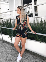 ASHA - That Universal Playsuit Navy/Floral 32908