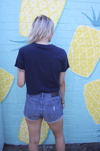 WEDNESDAYS PROJECT Merci Beaucoup Crop Tee Navy 33011
