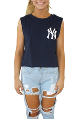MAJESTIC ATHLETIC Montana Cropped Muscle Yankees Navy 33045