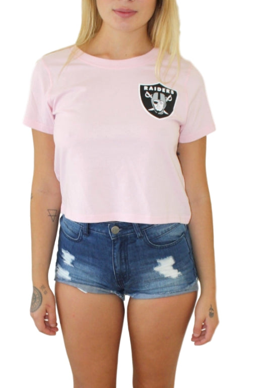 MAJESTIC ATHLETIC Gypsa Cropped Tee Oakland Raiders Pink 33043
