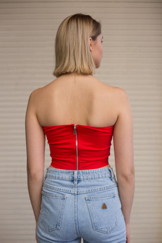 LUVALOT Empire Tie Front Crop Top Red 34342