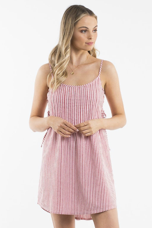 ALL ABOUT EVE Clover Lace Side Dress Red Stripe 34789