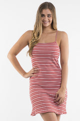 ALL ABOUT EVE Hannah Dress Rust White Stripe 34790