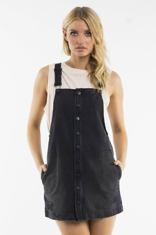 ALL ABOUT EVE Marissa Pinafore Washed Black Denim 34786
