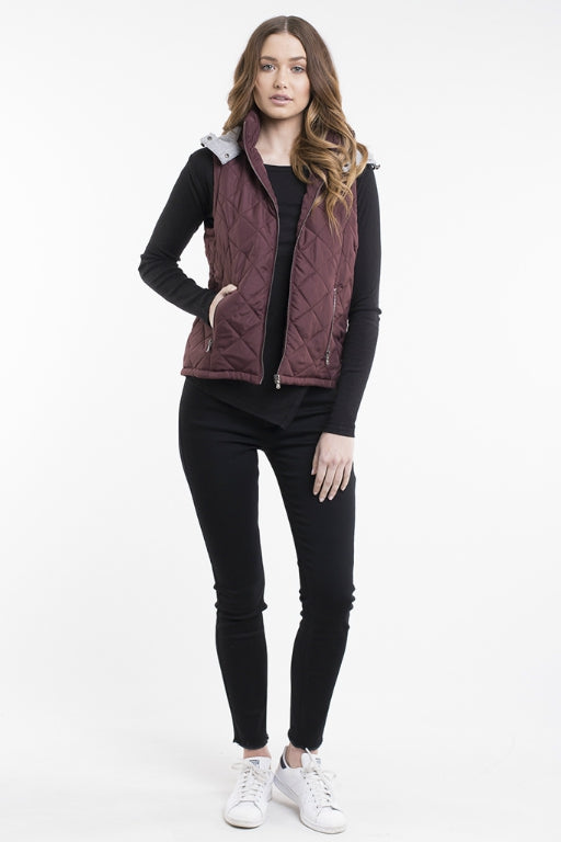 ALL ABOUT EVE Runner Puffer Vest Burgundy 32628