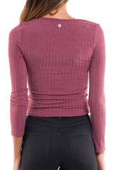 ALL ABOUT EVE Anne LS Top Burgundy 32173