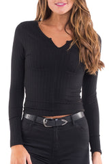 ALL ABOUT EVE Anne LS Top Black 32173