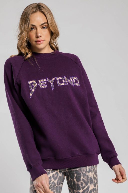 BEYOND HER Beyond Oversized Jumper Purple 34005