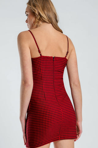 BEYOND HER Grid Girl Mini Dress Red 34155