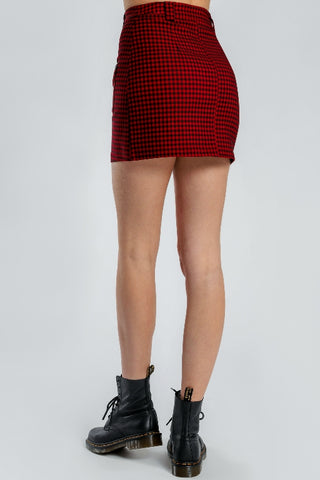 BEYOND HER Grid Mini Skirt Red 34159