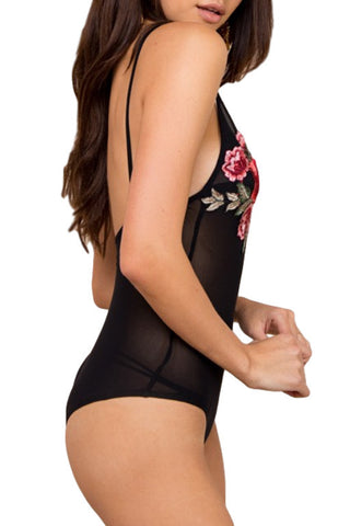 WEDNESDAYS PROJECT Heart of Rose Bodysuit Black 30750