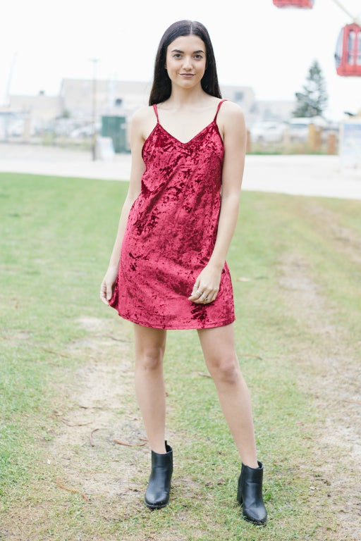 ASHA Nightowl Velvet Dress Burgundy 32049